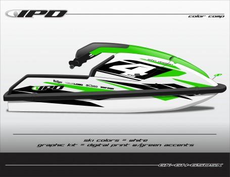 GK-GH-SX (Green Accents on a White Ski)