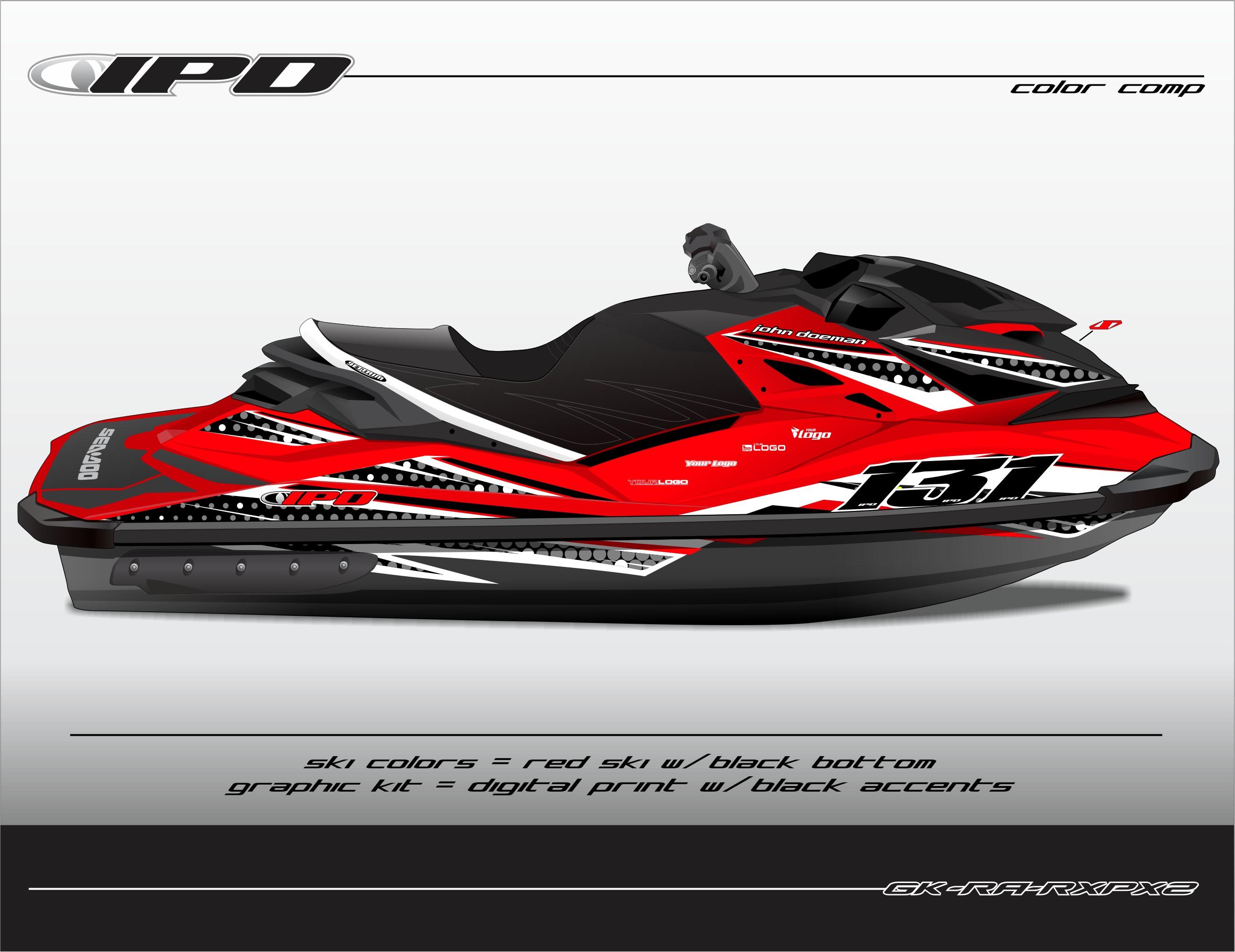 GK-RA-RXPX2 (Black Accents on Red Ski, Black Bottom)