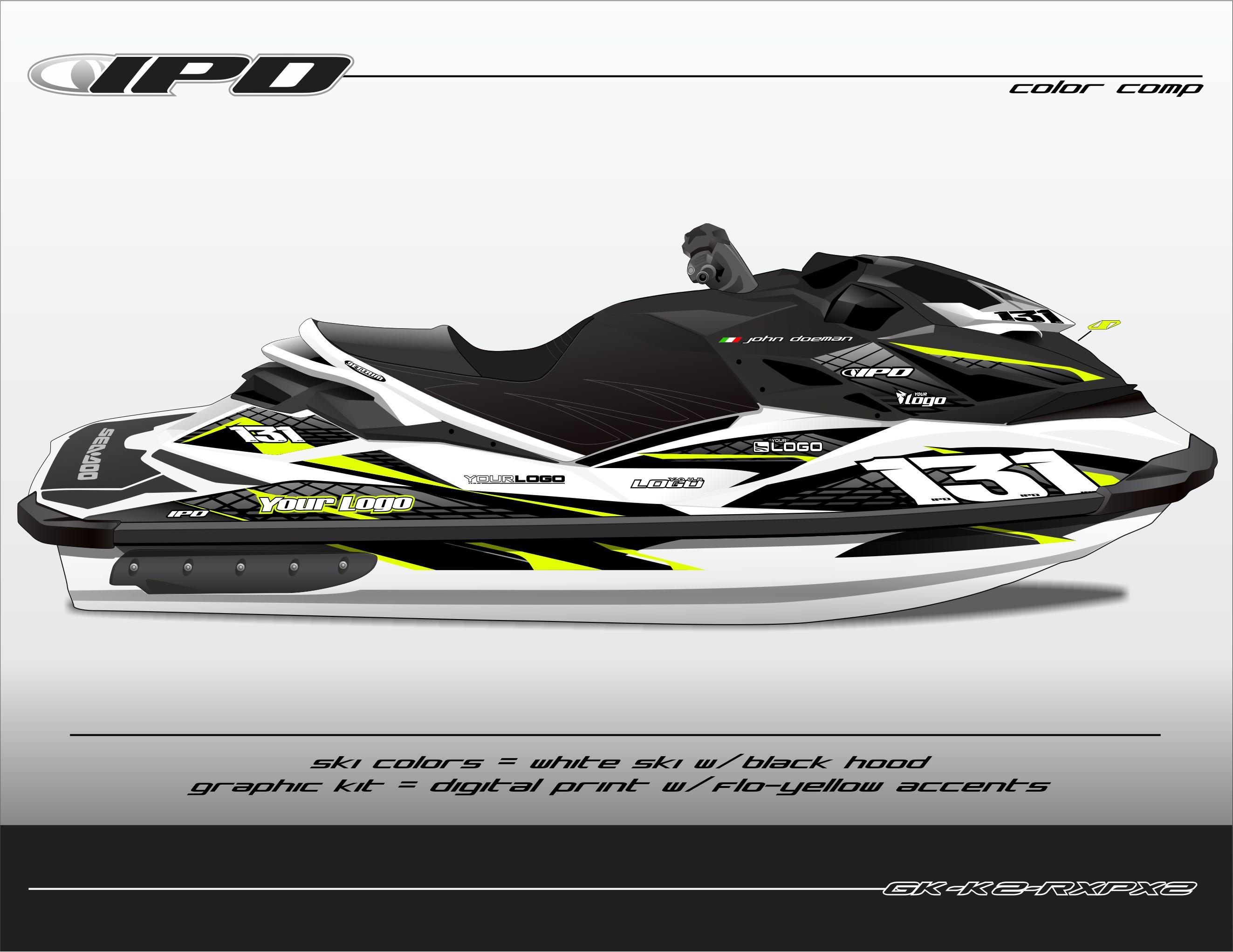 GK-K2-RXPX2 (Flo-Yellow Accents on White Ski, Black Hood)